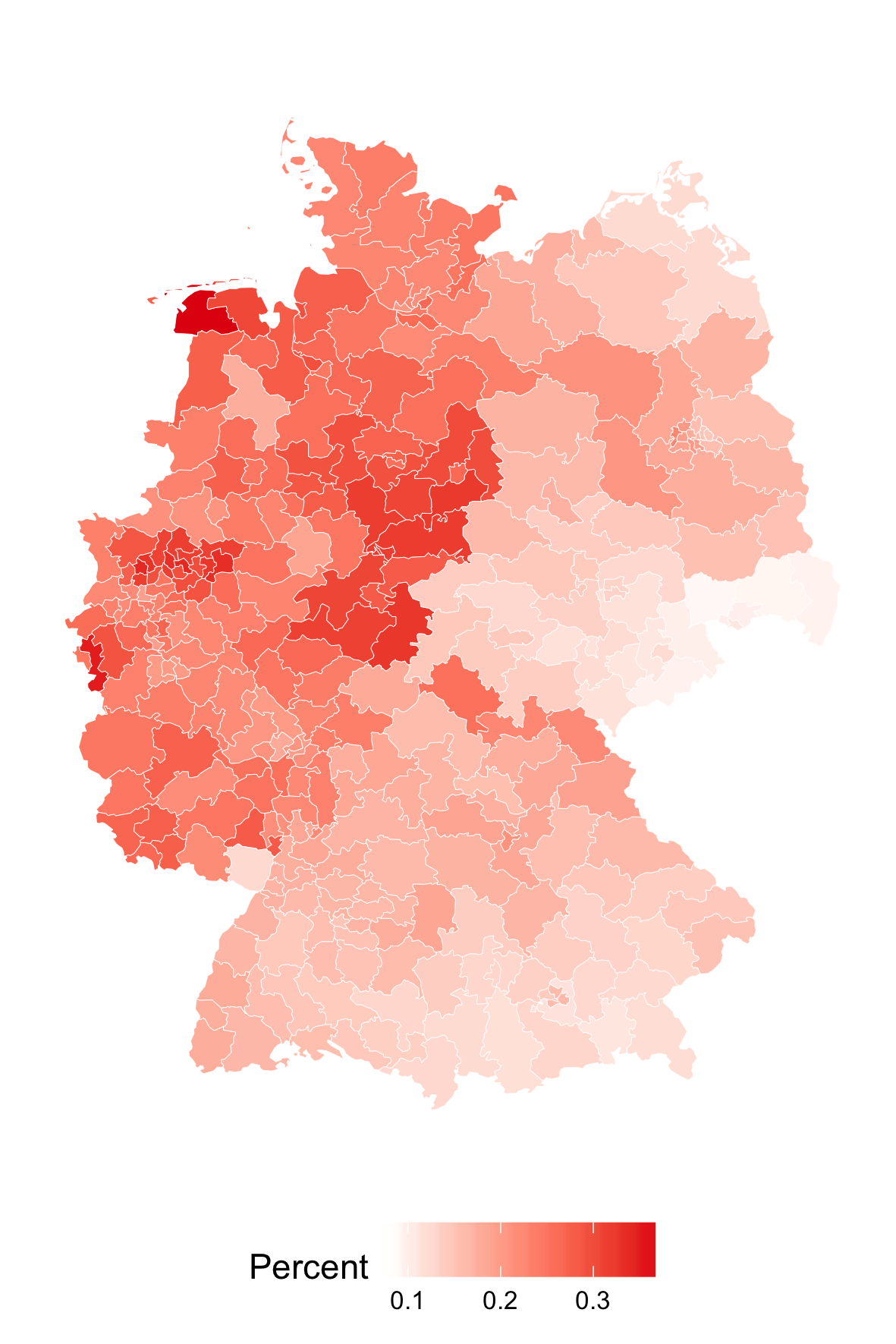 Figure 2: Vote share for the SPD across Germany in the 2017 federal election